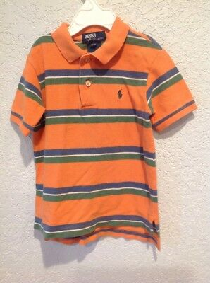 Ralph Lauren Toddler Boys Size 3T Orange,blue, Green Striped Short Sleeve Polo