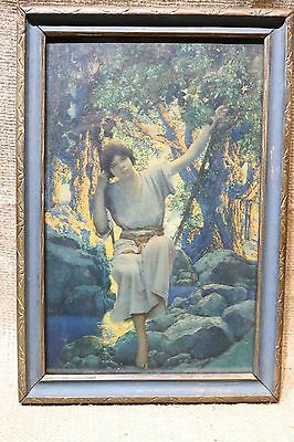 """Antique Maxfield Parrish Print-""""Dreamlight""""-1925-Small Size-Framed"""