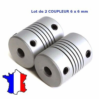 2x Coupleur 6x6mm Aluminium - Shaft Flexible Coupling Coupler 6 * 6 mm - CNC