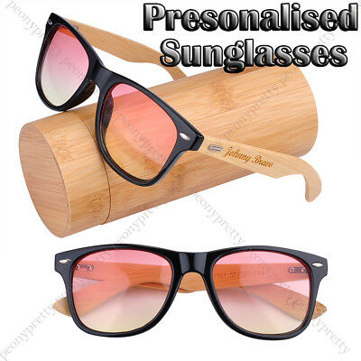 Personalised Engraving Bamboo Wood 2-Tone Lens UV400 Sunglasses Bridesmaid Gift