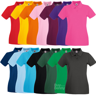 Fruit of the Loom LADIES POLO SHIRT SLIM FIT PREMIUM COTTON SPORTS SMART XS-2XL