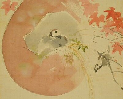 Hanging Scroll Japanese Painting Japan Asian Sparrow Gourd Antique 甃居 中林 b262
