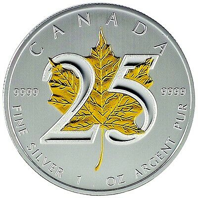 Very Rare ~ 2013 Canadian 25th Ann. Maple Leaf .9999 fine Silver & Gold Gilded.