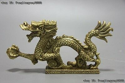 Chinese Zodiac Animal Fengshui Pure Brass Copper Dragon Hold Flaming Bead Statue