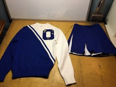 "Vtg.  1990s Cheerleader Uniform Blue White ""Brooke"" Halloween Costume Pins 34"