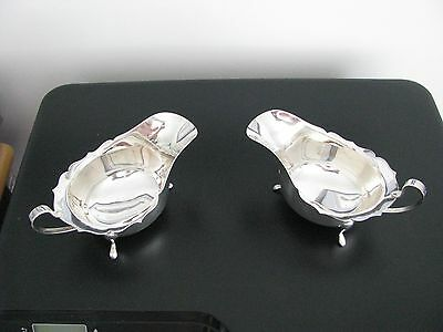 Barker Ellis Solid Silver Pair of Sauce / Gravy Boats in v.g.c see pictures