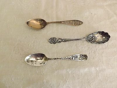 Lot of 3 Spoons Marked Sterling Silver Jelly Rockford 1 Monogrammed