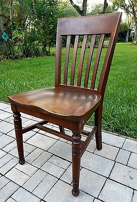 Chair Lawyers Banker Library walnut Wood Desk Chair Antique Vintage