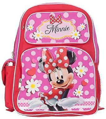 "Backpack - Disney - Minnie Mouse Red/Pink 16"" School Bag New 052477"