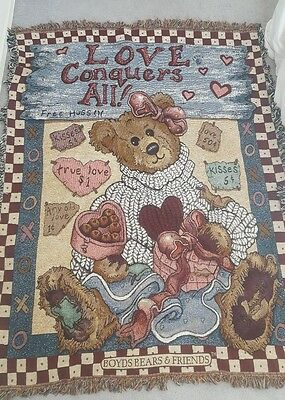 "Boyds Bears ""Love Conquers All"" Tapestry Throw Blanket;  51x 66 Free Shipping"