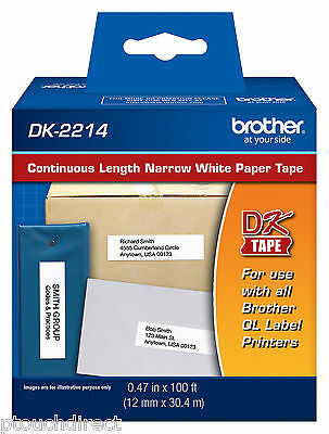"""Brother DK2214 1/2"""" Narrow White Paper Tape for QL500, QL-500 label printers"""