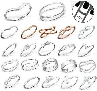 Sterling Silver 925 Simple Chevron Stacking Midi Ring Toe Knuckle Top Finger New