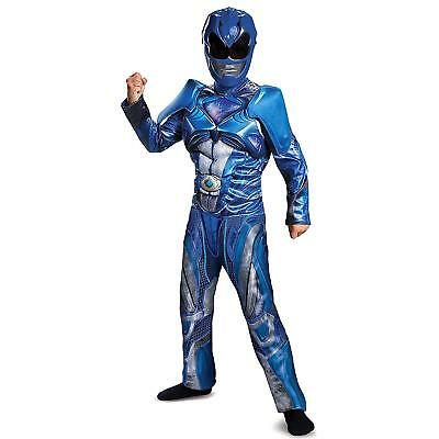 NEW Power Rangers Blue Ranger Classic Muscle size S 4/6 Kids Costume Outfit