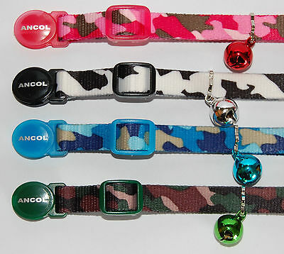 Ancol Camouflage Cat Kitten Collar Soft Buckle Blue Black White Army Green Pink