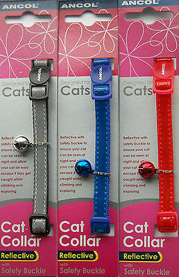 Ancol Gloss Reflective Cat Kitten Collar Soft Buckle Blue Red Silver Bell