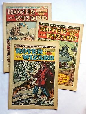 3 x Rover and Wizard Comic 14th 21st 28th December 1963 Christmas Issue