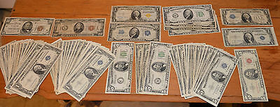 US Banknote collection 1928-1963 Bl,Gr,Br,Y seal $1,5,10,20,50. 71 pc. $273 face