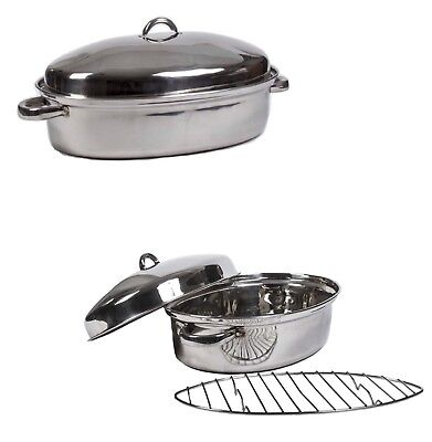 """High Quality Stainless Steel Turkey Roasting Pan 15"""" Oval Multi Oven Roaster Pan"""