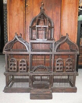 Classic Three Dome Towering Victorian Cathedral Wooden Bird Cage Chicago Pick-Up