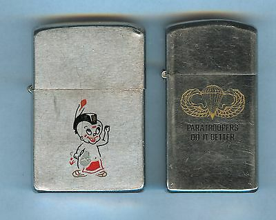Lot of two vintage ZIPPO Lighters (Paratroopers & LIL' MOHAWK INDIAN)