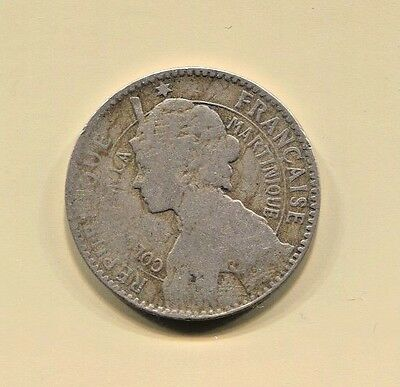 Martinique - Beautiful Historical Scarce Josephine 1 Franc, 1897 Km# 41