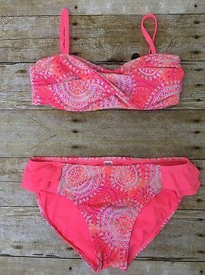 Justice bikini Girls 14 2pc swimsuit bathing suit Coral Neon Pink Tribal Ruffle