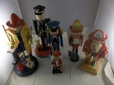 A4 Lot of Police and Firemen NUTCRACKERS Set of 6