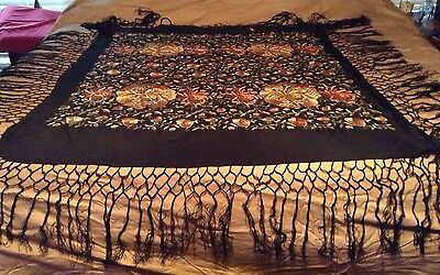 VTG Antique Silk Hand Embroidered Canton Tapestry Piano Shawl Black Metallic