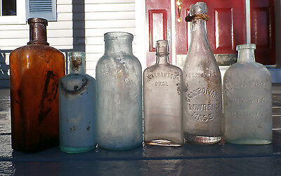 Antique Dirty Half Dozen Lot of Blown in Mold Mixed Product Bottles, 1800's