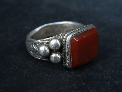 Antique Silver Ring With Stone C.1900 AD ###R582###