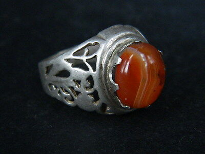 Antique Silver Ring With Stone C.1900 AD ###R558###