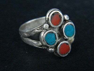 Antique Silver Ring With Stones C.1900 AD ###R584###