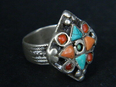 Antique Silver Ring With Stones C.1900 AD ###R586###