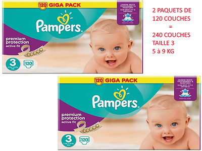PAMPERS TAILLE 3 ACTIVE FIT 240 couches ( 2 paquets de 120 Couches ) à 55,79 €