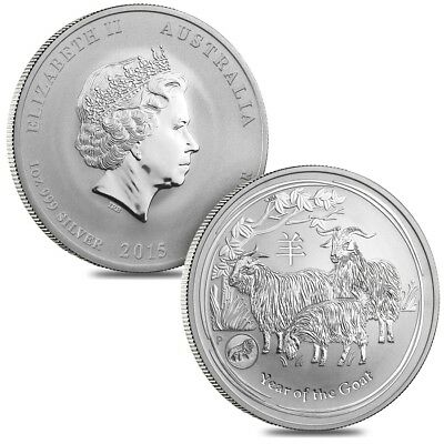 Lot of 2 - 2015 1 oz Silver Australian Lunar Year of the Goat Lion Privy BU Aust