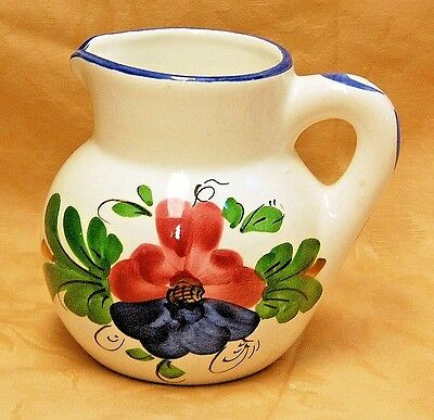 """Vintage Floral Ceramic 6"""" Pitcher Pottery Made In Spain Blue Red Green Signed"""