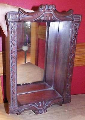 Vintage Mirror Carved Wood Display Wall Shadow Box Case Curio Cabinet Grotto