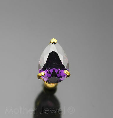 14G Purple Pear Cz Reverse Yellow Gold Plate Surgical Steel Navel Belly Bar Ring