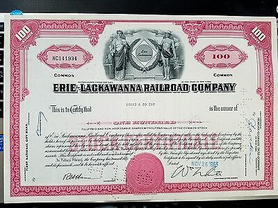Erie Lackawanna Railroad Company Stock Certificate - 100 Shares Red