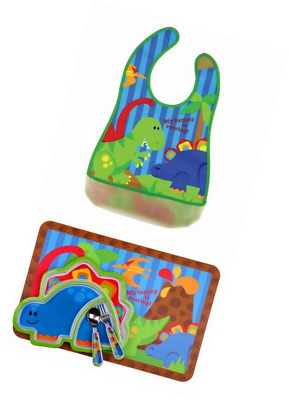 Stephen Joseph Silverware, Bib, Placemat, & Feeding Tray Set, Dino