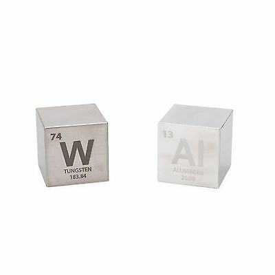 "Tungsten and Aluminum 1.5"" Cube Set with Periodic Engraving"