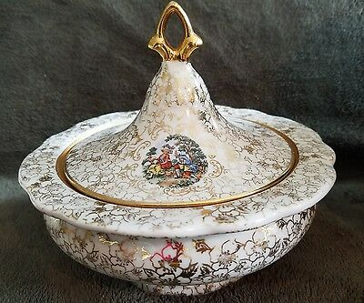 Vintage 22 Karat Gold Plated Pedestal Dish with Cover Hand Painted