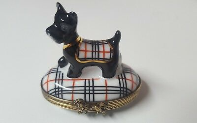 Limoges Peint Main miniature trinket box scottie dog