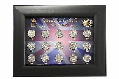 Sixpence Coin. Queen Elizabeth II Full Date Run 1953-67 Framed Collectable Gift.