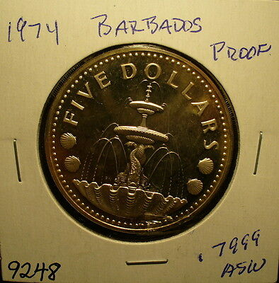 Silver Barbados 1974 Proof Coin