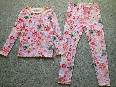 Girl's The Children's Place Frog Print Pajama Set Size 6X/7-Pants , Long Sleeves