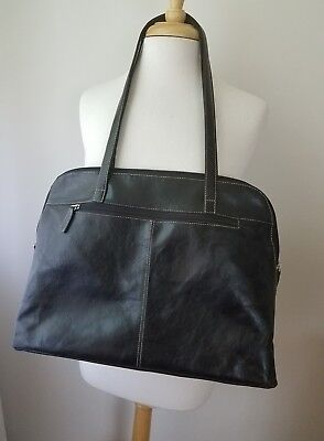 Buxton Black Leather EXTRA LARGE Organizer Briefcase Laptop Bag Purse Tote NWOT