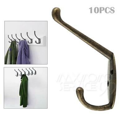 10x  ANTIQUE IRON Classic Style Double Coat Cast Hook Wardrobe Robe Purse Bronze