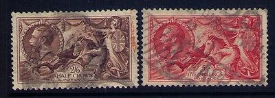 Great Britain Stamps KGV Seahorse Sc# 222-223 Used CV:$85