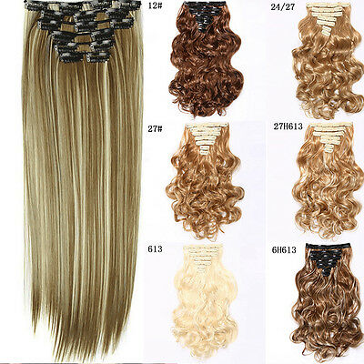"7/6pcs 24"" Clip In Full Head 100% Real Remy Straight fiber Hair Extensions New"